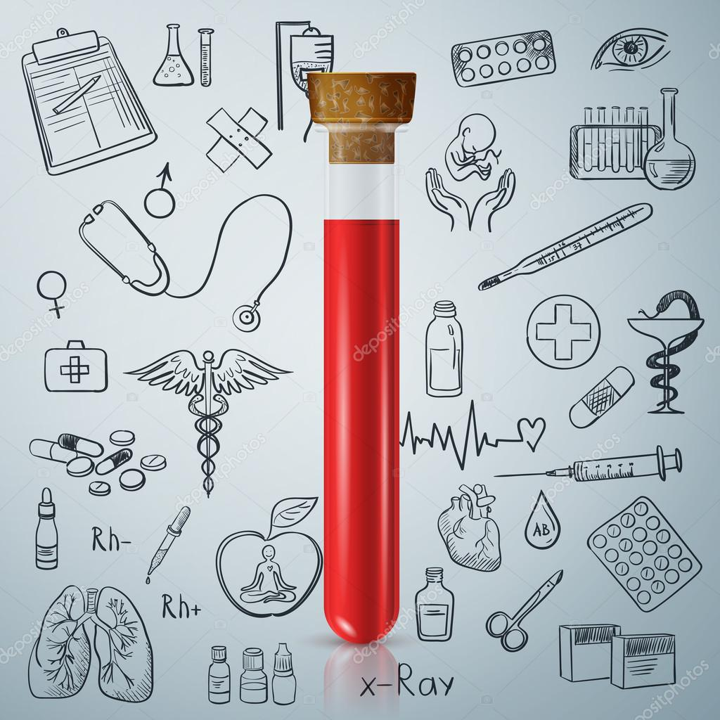 1024x1024 Test Tube And Hand Draw Medicine Icon Stock Vector Netkoff