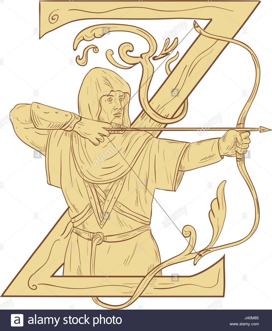 1143x1390 Drawing Sketch Style Illustration Of A Medieval Archer With Bow