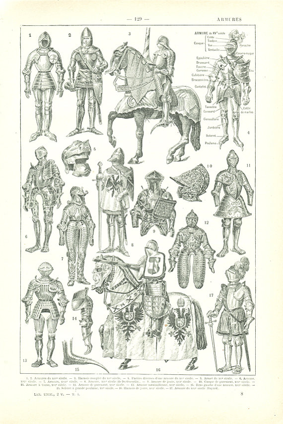 570x852 1922 Vintage Suit Of Armor Print Medieval Armor Poster Knight
