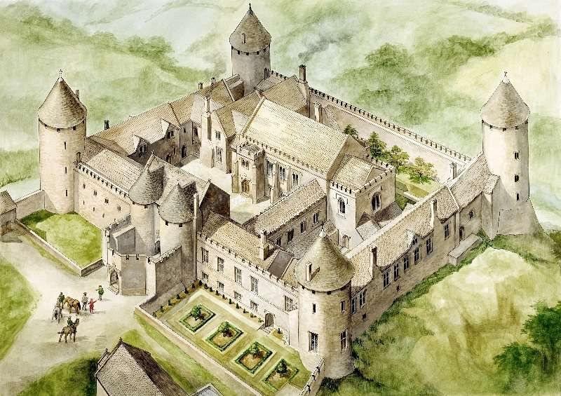 800x565 Reconstruction Farleigh, Aerial View Reconstruction Drawing