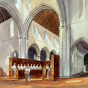 290x290 Drawing Of Rievaulx Abbey Showing Monks Worshipping In The Church