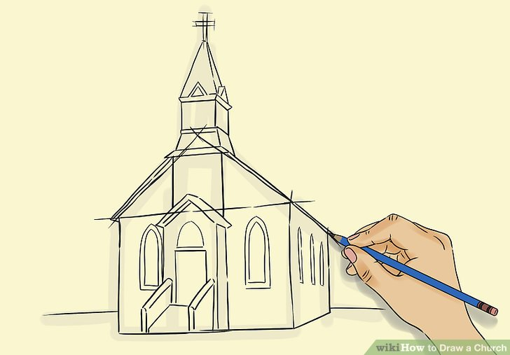 728x507 How To Draw A Church 8 Steps (With Pictures)