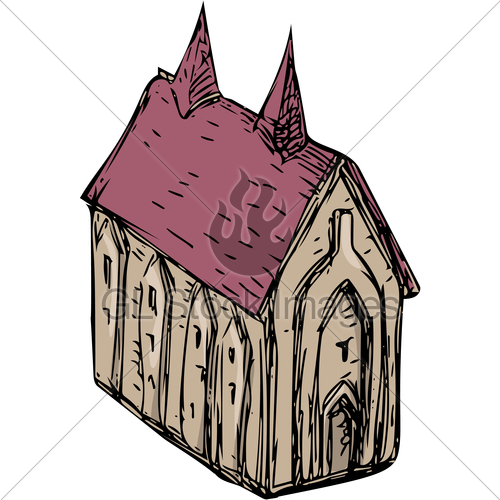 500x500 Medieval Church Drawing Gl Stock Images