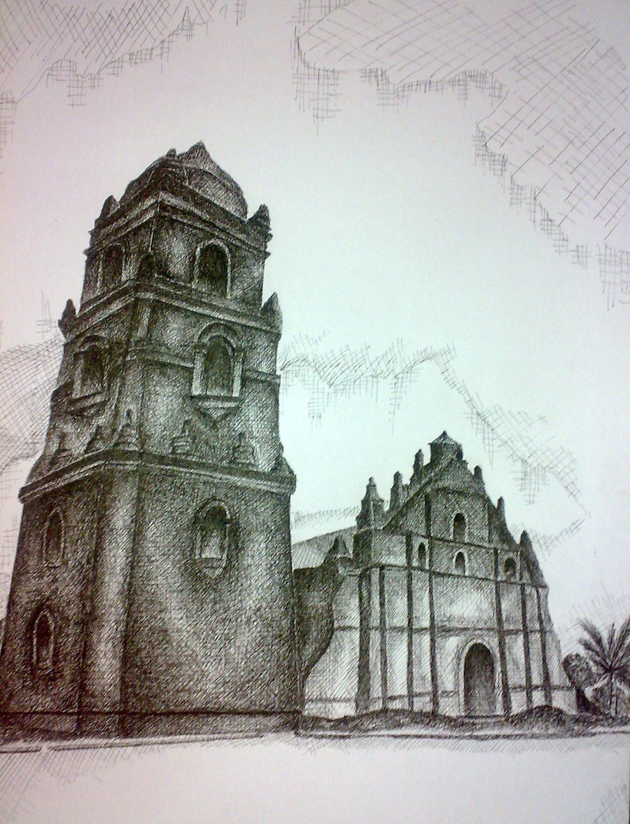 900x1176 Paoay Church In Pen And Ink By Immortalityinsilence