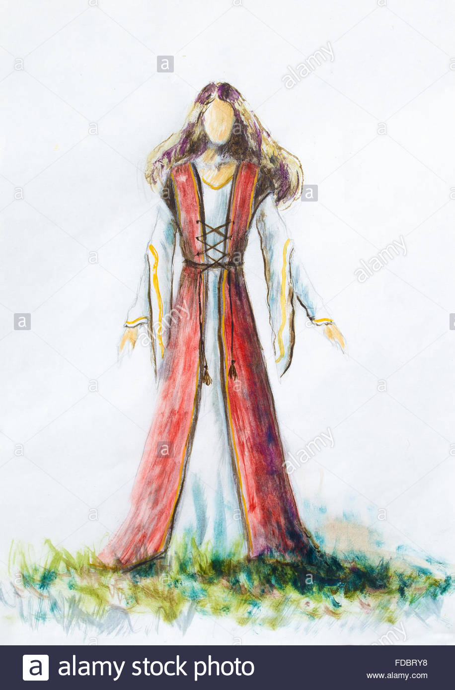 916x1390 Painting Of Woman Medieval Historic Dress On Paper, Designer