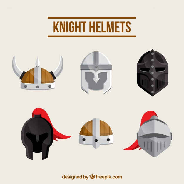 626x626 Hand Drawn Variety Of Medieval Helmets Vector Free Download