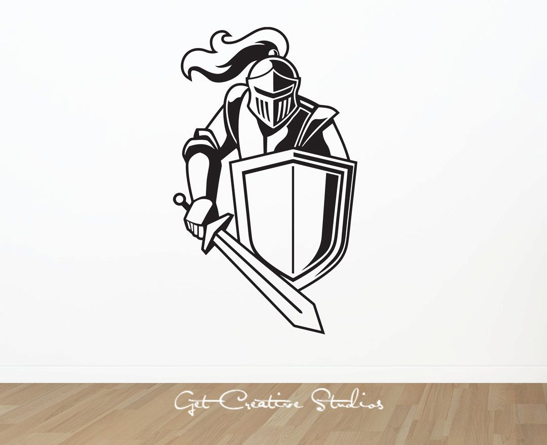 1079x878 Knight Decal Sticker Sword Wall Decal Medieval King Armour Battle