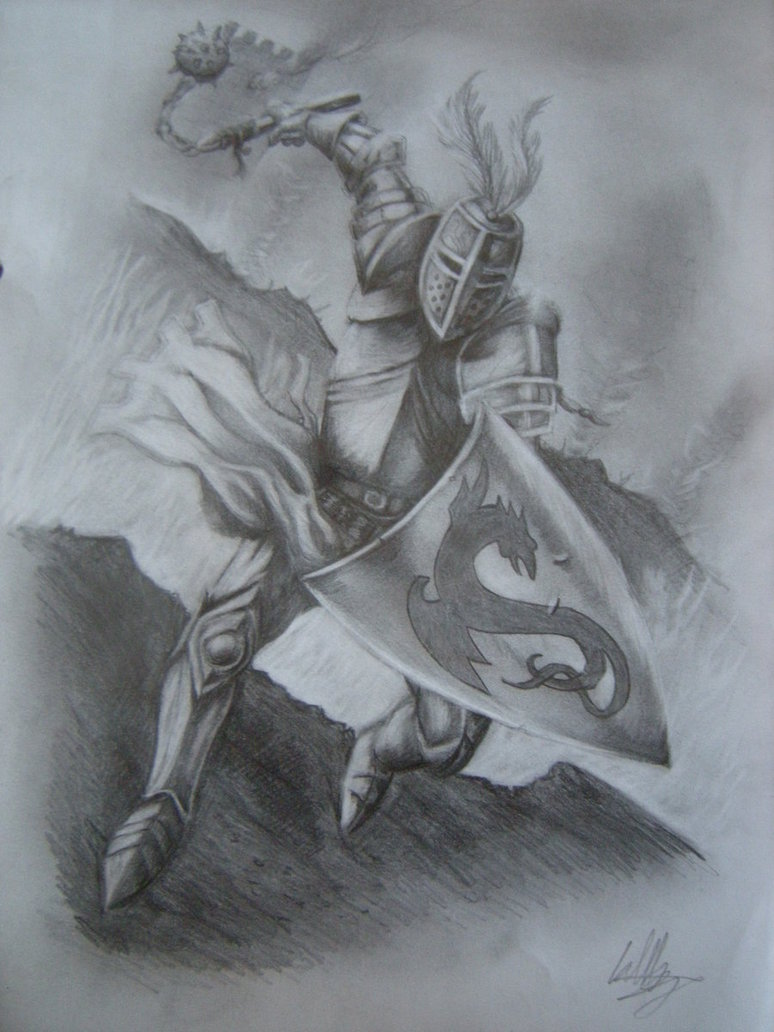 774x1032 Pencil Drawing Of Medieval Knight By Curlywurly808