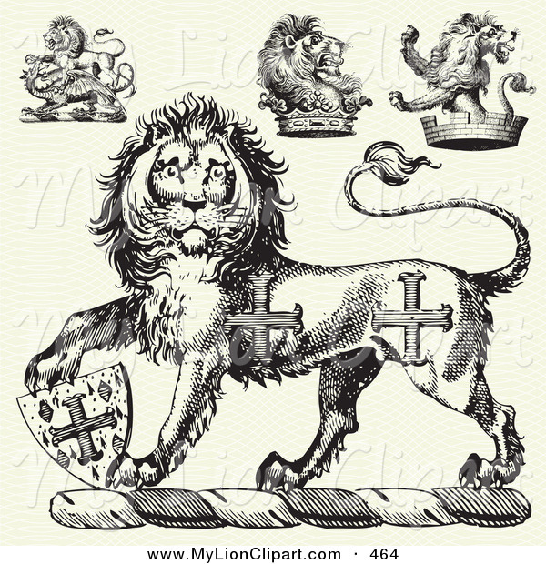600x620 Clipart Of A Digital Set Of Medieval Lion Designs By Bestvector