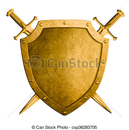 450x456 Gold Medieval Coat Of Arms Shield And Two Swords Isolated