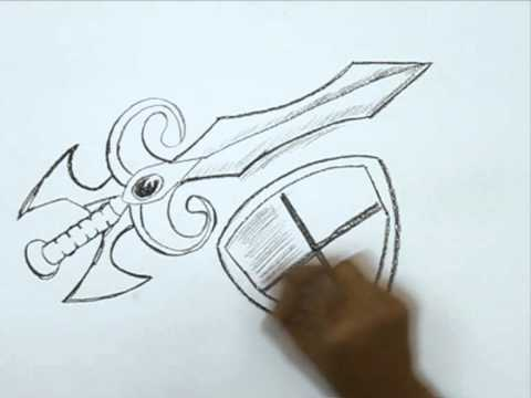 480x360 How To Draw A Medieval Sword And Shield