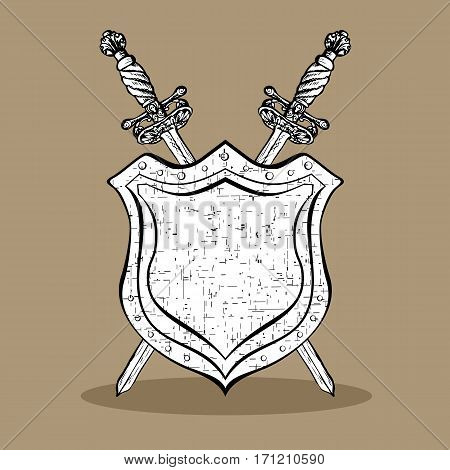 450x470 Medieval Cold Arms. Two Crossed Vector Amp Photo Bigstock