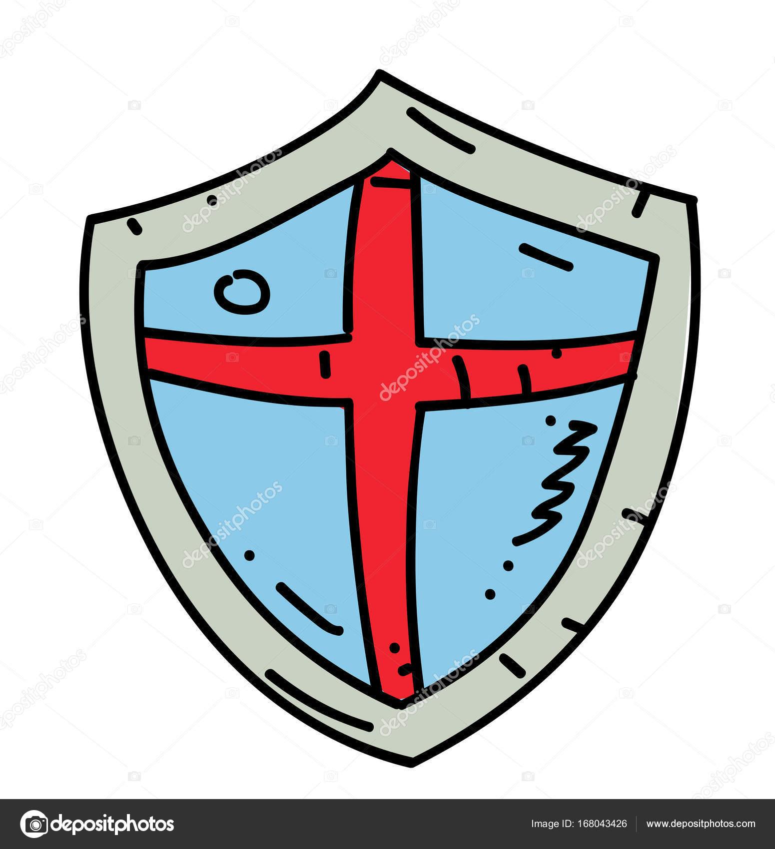 1551x1700 Medieval Shield Cartoon Hand Drawn Image Stock Vector