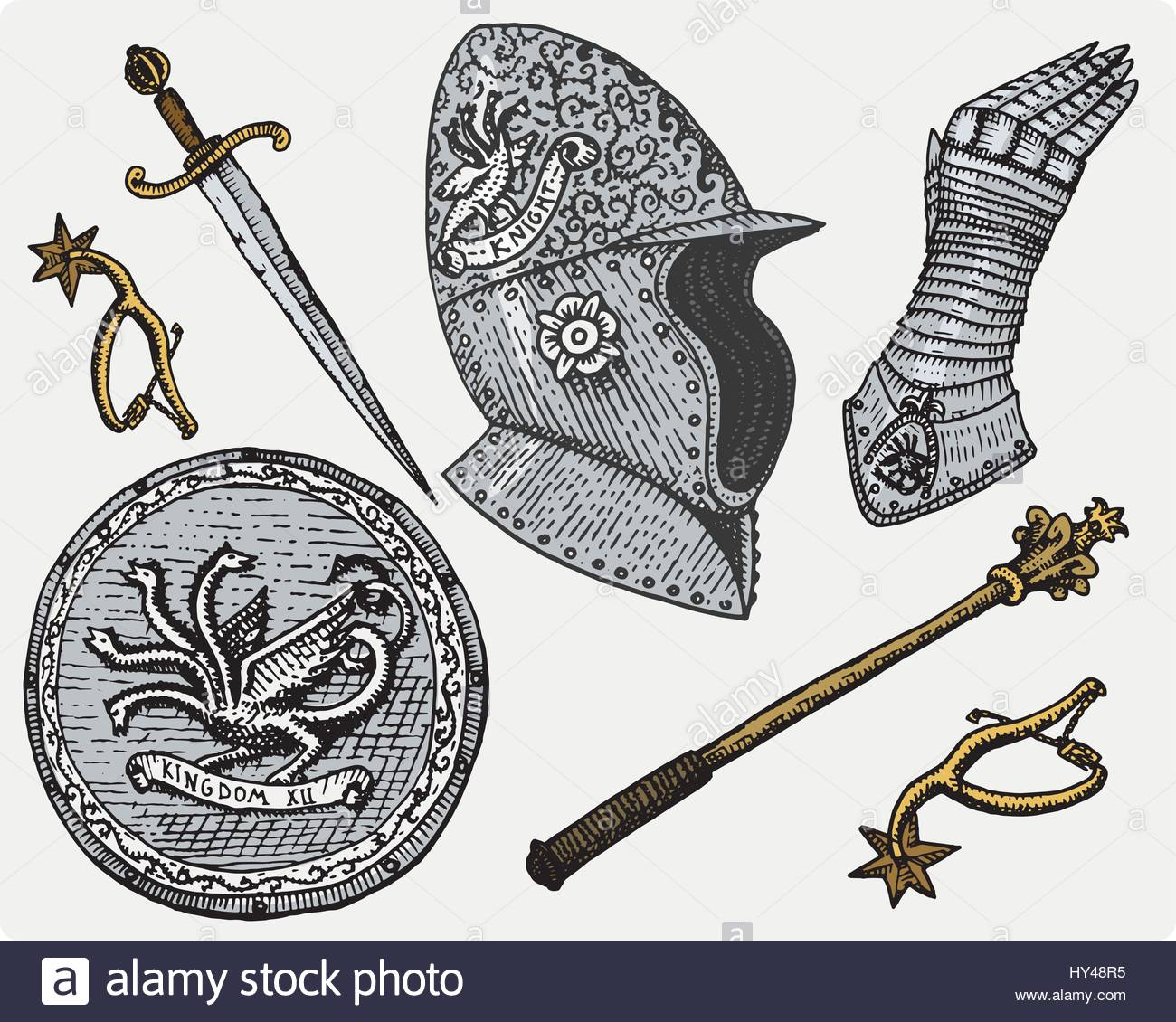 1300x1130 Medieval Symbols, Helmet And Gloves, Shield With Dragon And Sword