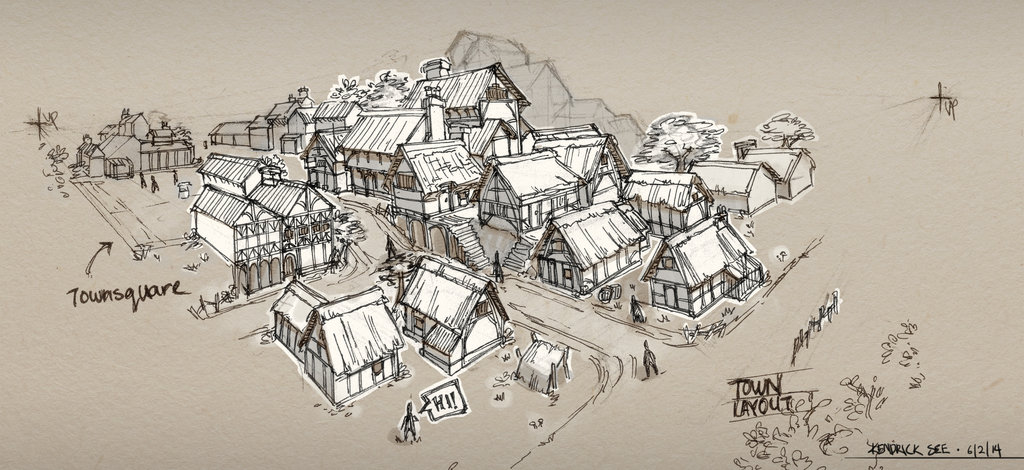 1024x470 Medieval Town Sketch By Sourshade