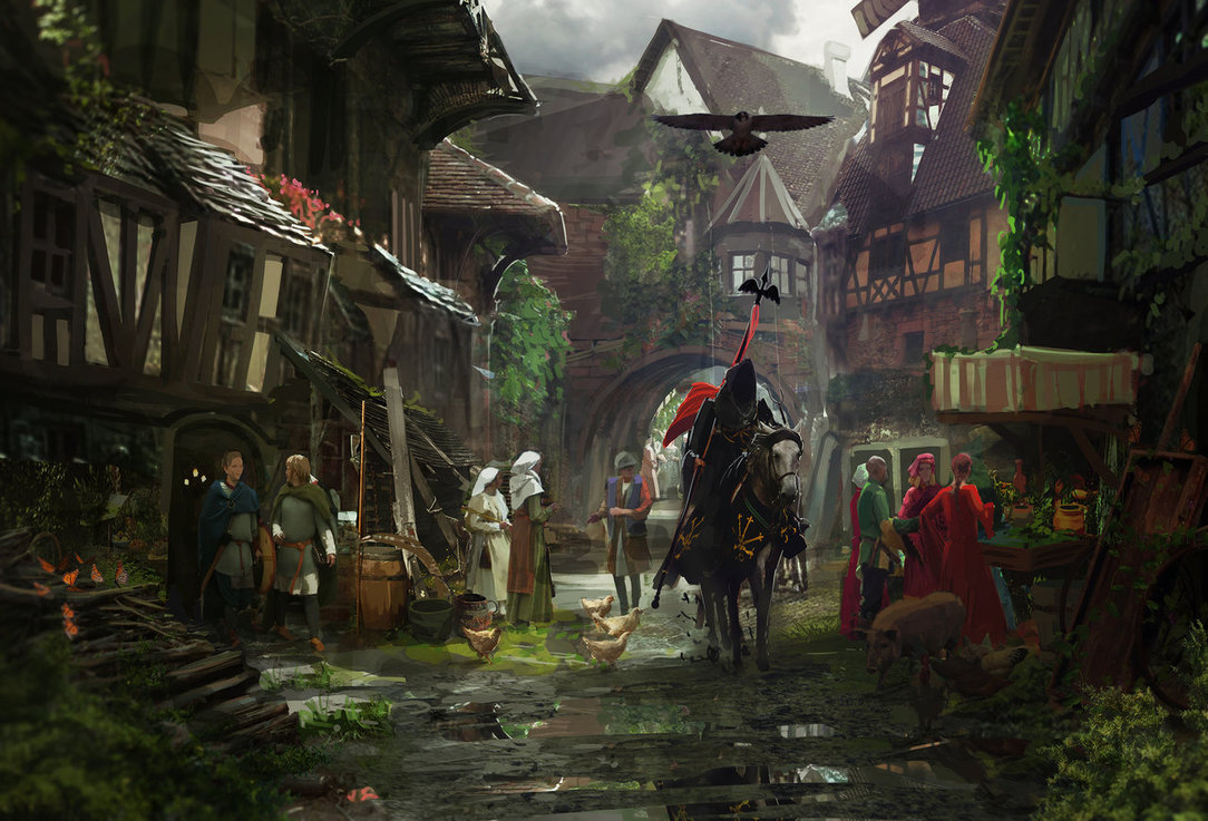 1084x737 Medieval Town By Rhysgriffiths