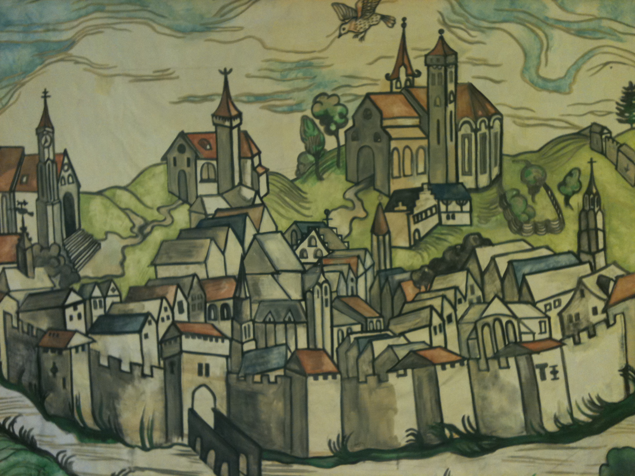 2048x1536 Medieval Town Mural Jesse Hawley Illustration