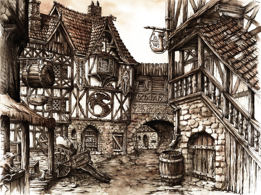 Medieval Coloring Pages For Adults : Medieval village drawing at getdrawings.com free for personal use
