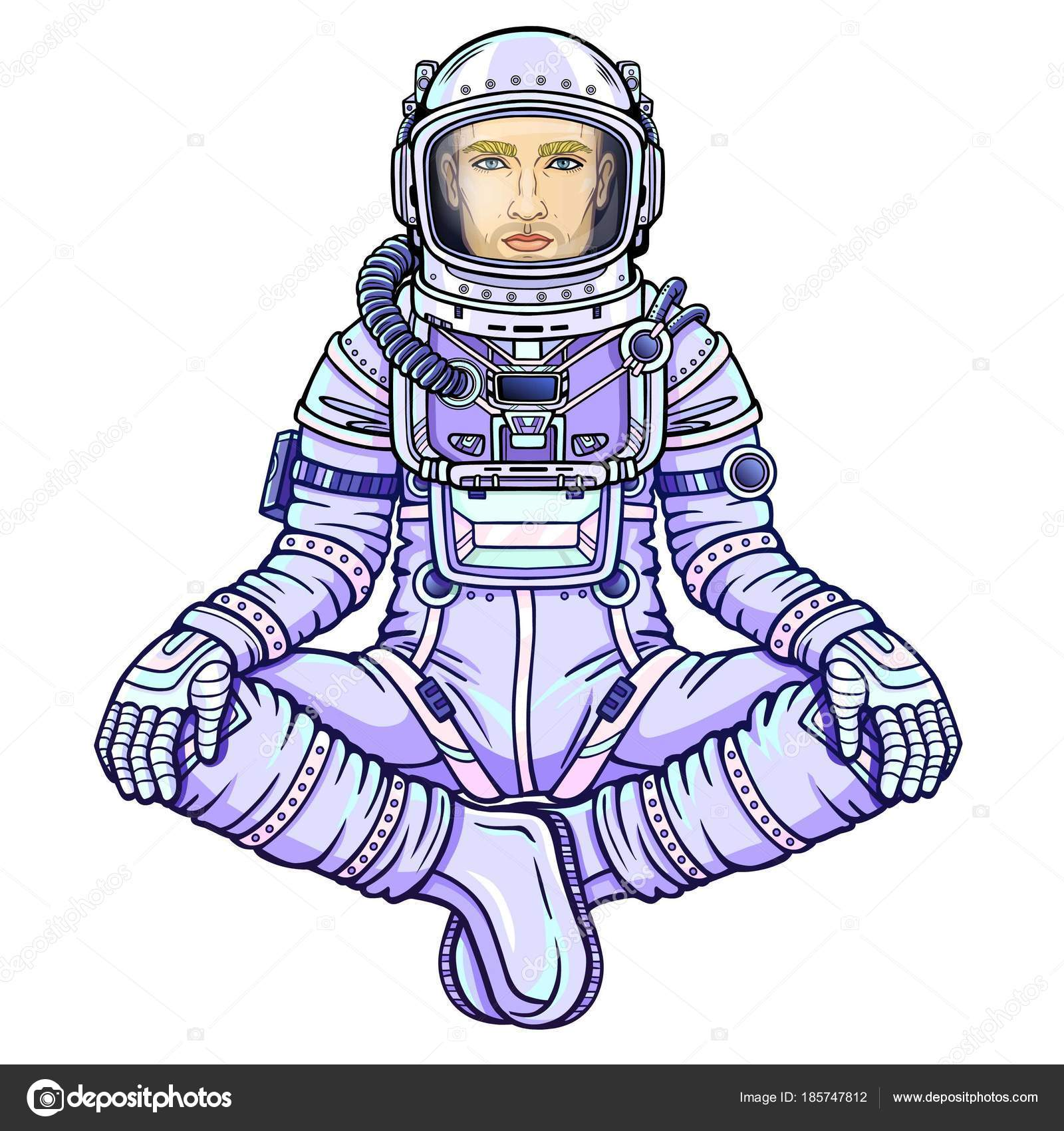 1600x1700 Animation Figure Man Astronaut Sitting Buddha Pose Meditation