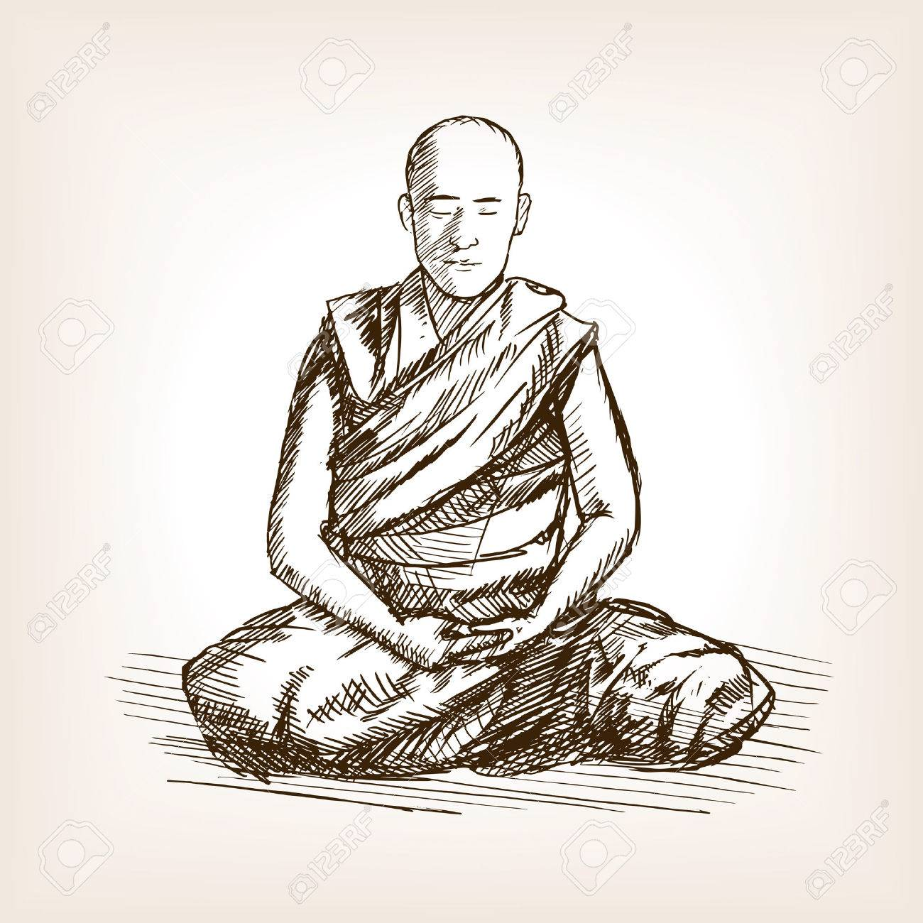 1300x1300 Buddhist Monk Meditation Sketch Style Vector Illustration. Old