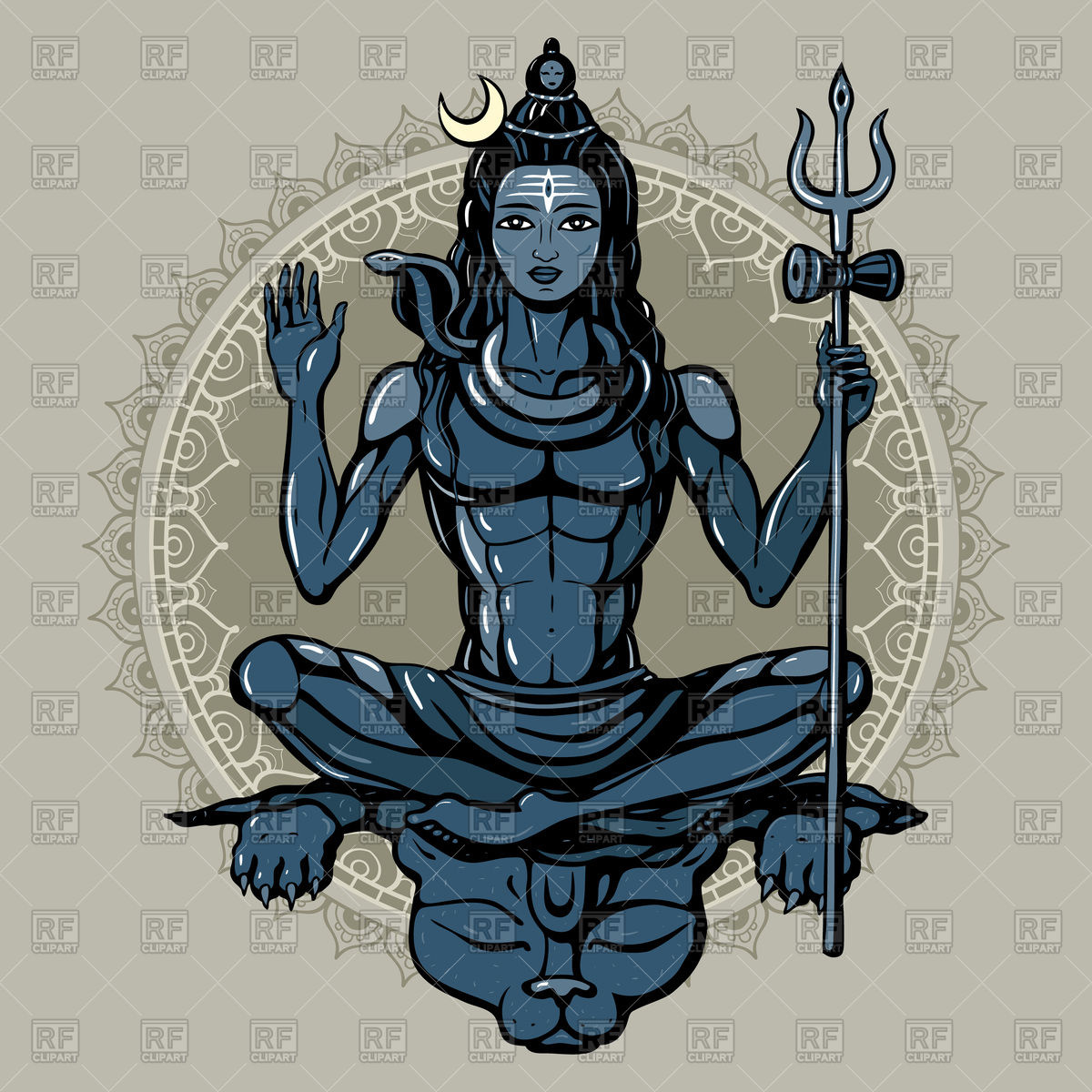1200x1200 Lord Shiva Hindu God In Meditation Pose Royalty Free Vector Clip