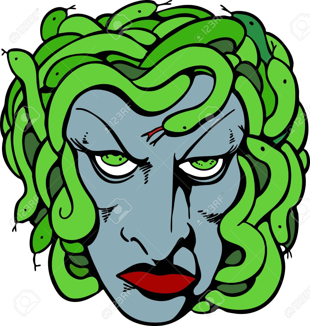 1235x1300 Mythical Medusa Head Drawing. Royalty Free Cliparts, Vectors,