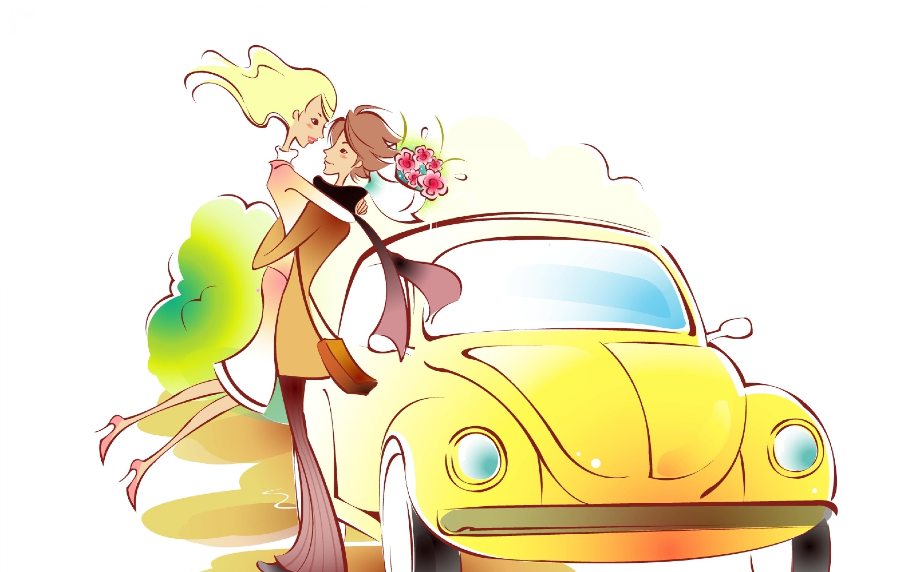 3840x2400 Download Wallpaper 3840x2400 Couple, Art, Drawing, Love, Car, Hug