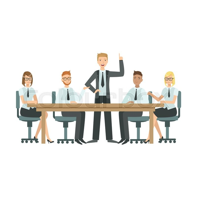 800x800 Managers Sitting On Meeting Teamwork Simple Cartoon Style