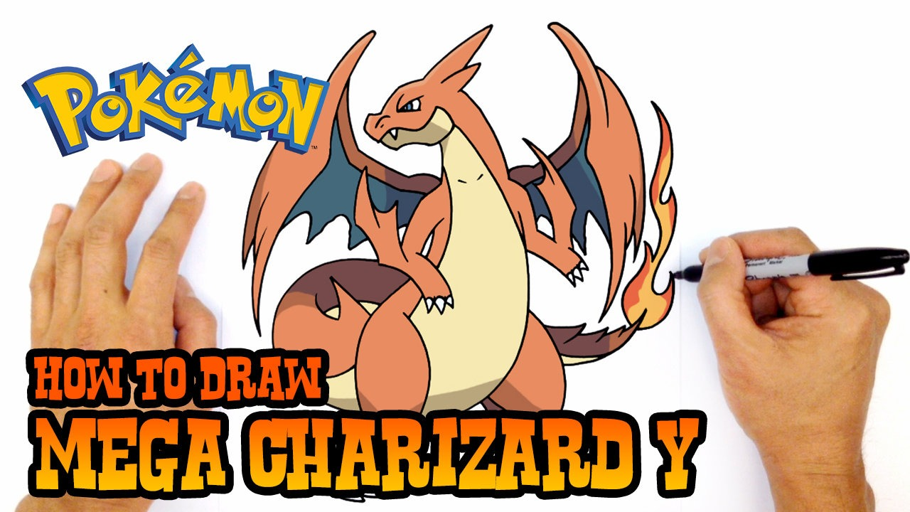 1280x720 How To Draw Mega Charizard X Pokemon Step By Step Lesson