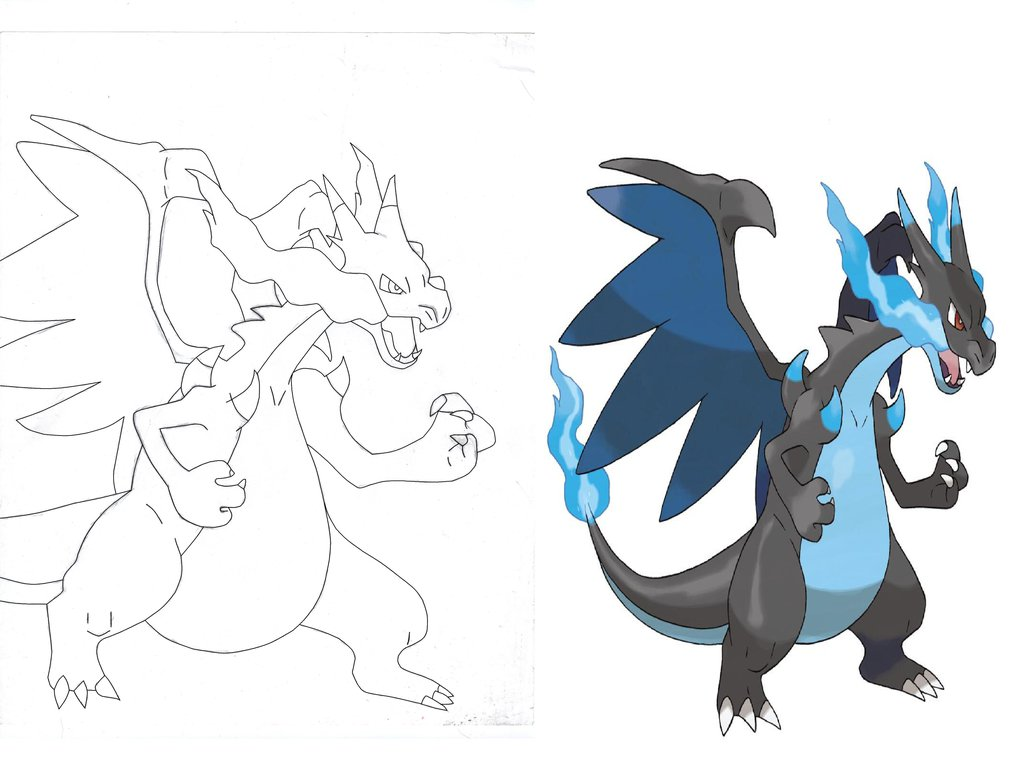 1024x761 Mega Charizard X Lineart And Official Comparison By