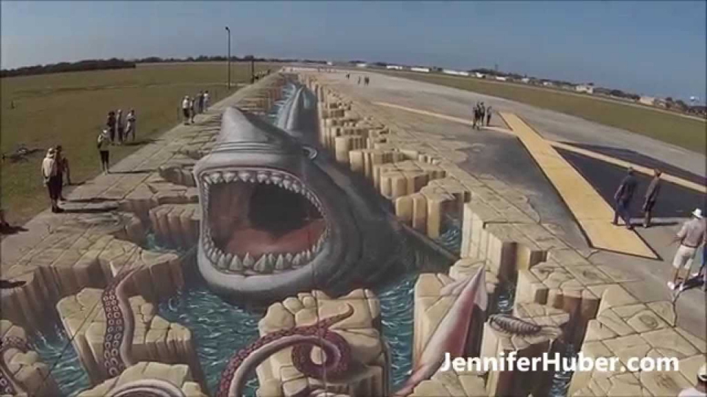 1024x576 3d Sidewalk Drawing Megalodon Shark In The World's Largest 3d