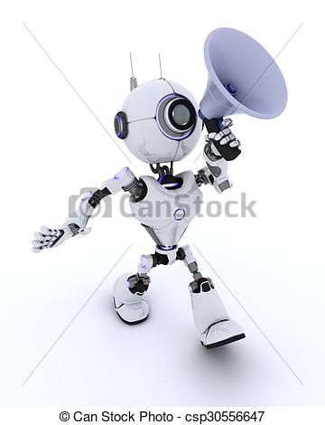 360x470 3d Render Of A Robot With Megaphone Drawing