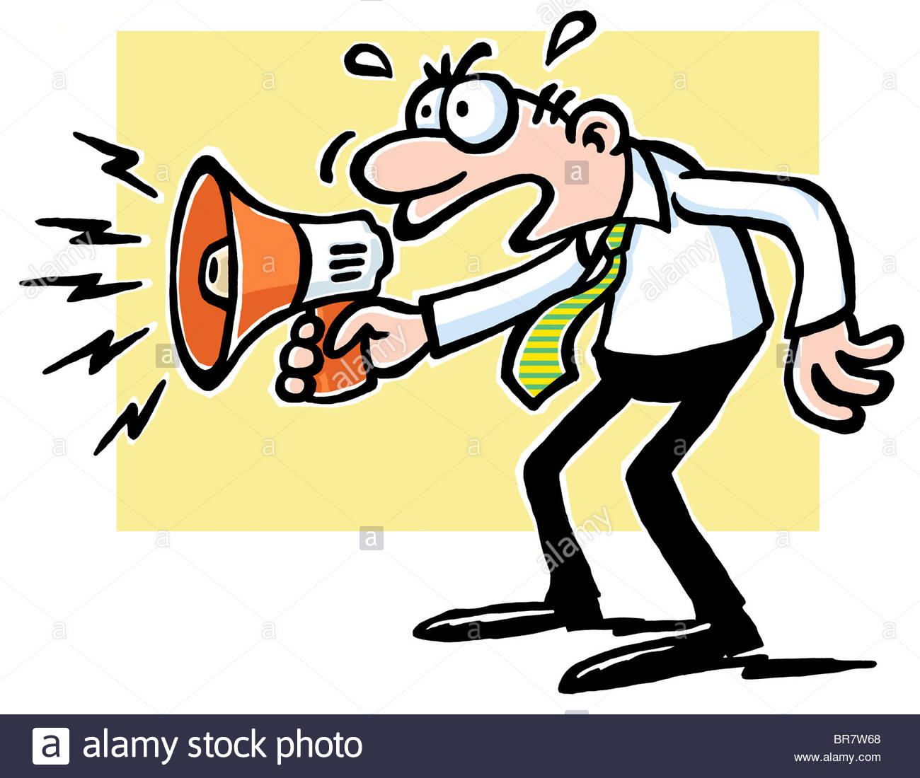1300x1100 A Cartoon Drawing Of A Man Yelling Into A Megaphone Stock Photo