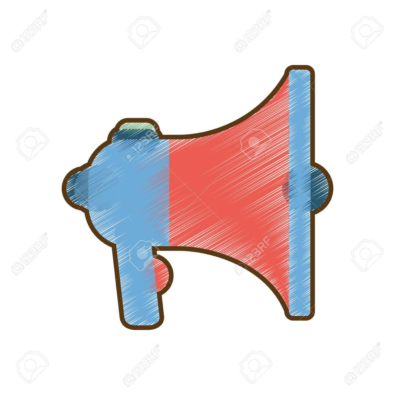 1300x1300 Drawing Blue And Red Megaphone Speaker Marketing Vector
