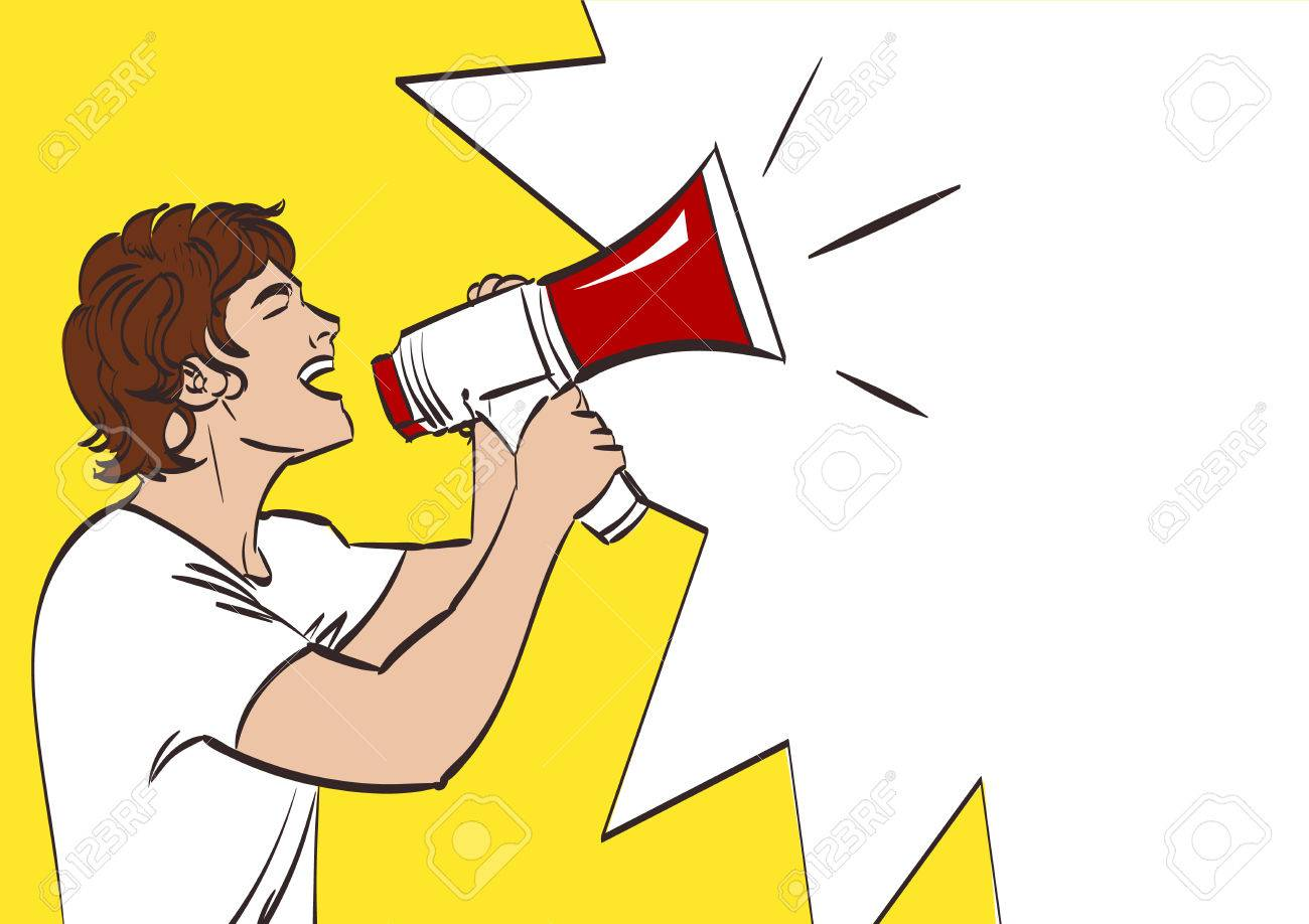 1300x918 Vector Full Isolated Portrait Of A Beautiful Man With Megaphone