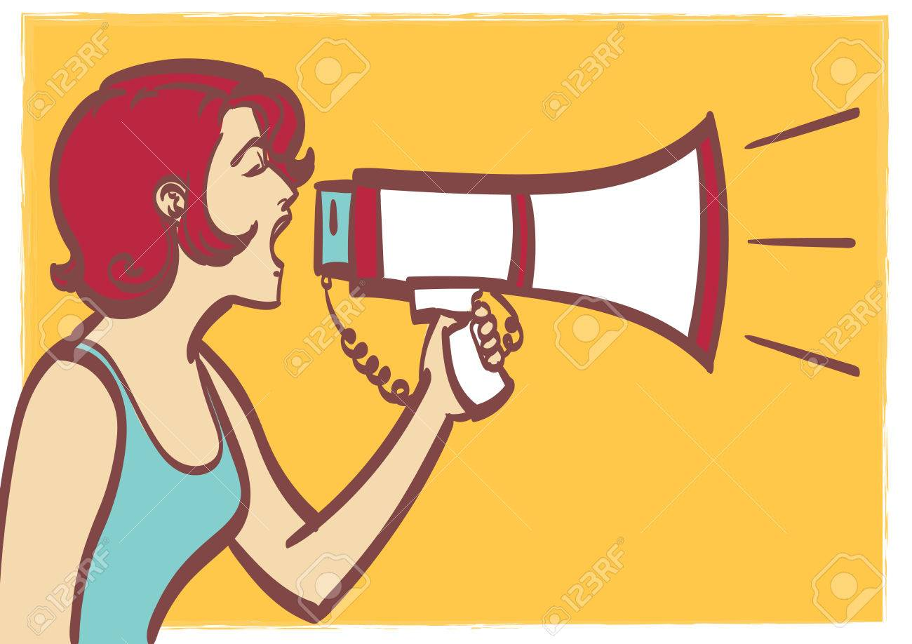 1300x918 Vector Full Isolated Portrait Of A Beautiful Woman With Megaphone