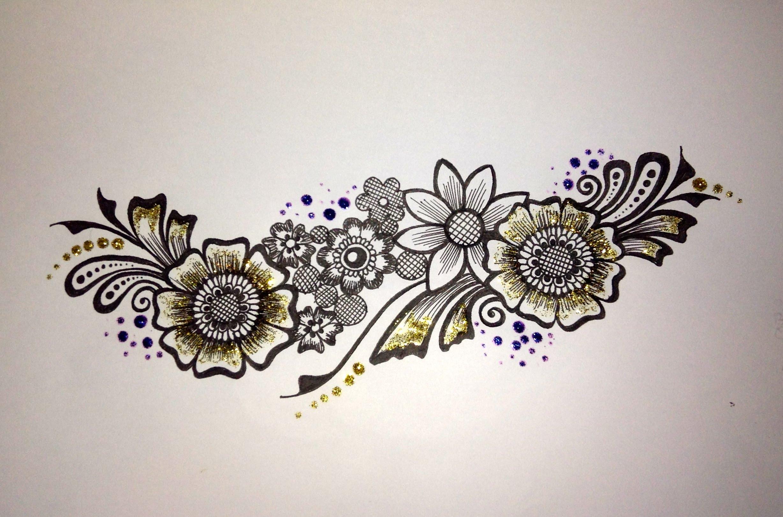 2456x1621 Mehndi Drawing Flower Strip