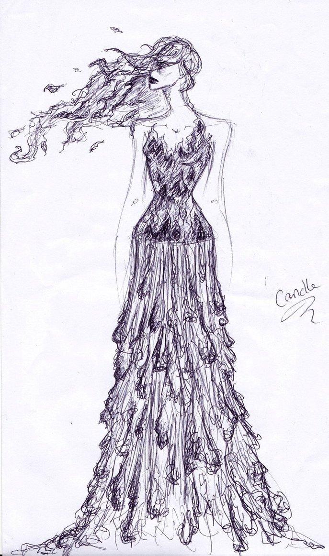 687x1163 Melting Candle Dress Sketch By Autumnprincess