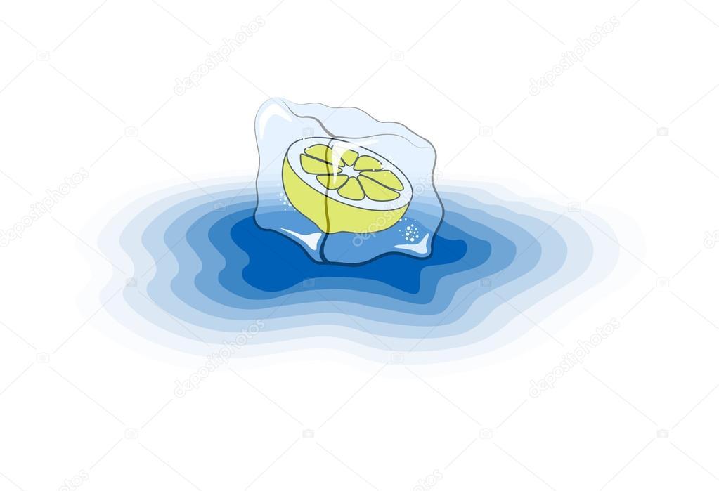 1023x699 Hand Drawn Lemon In Melting Ice Cube Stock Vector Rchvision