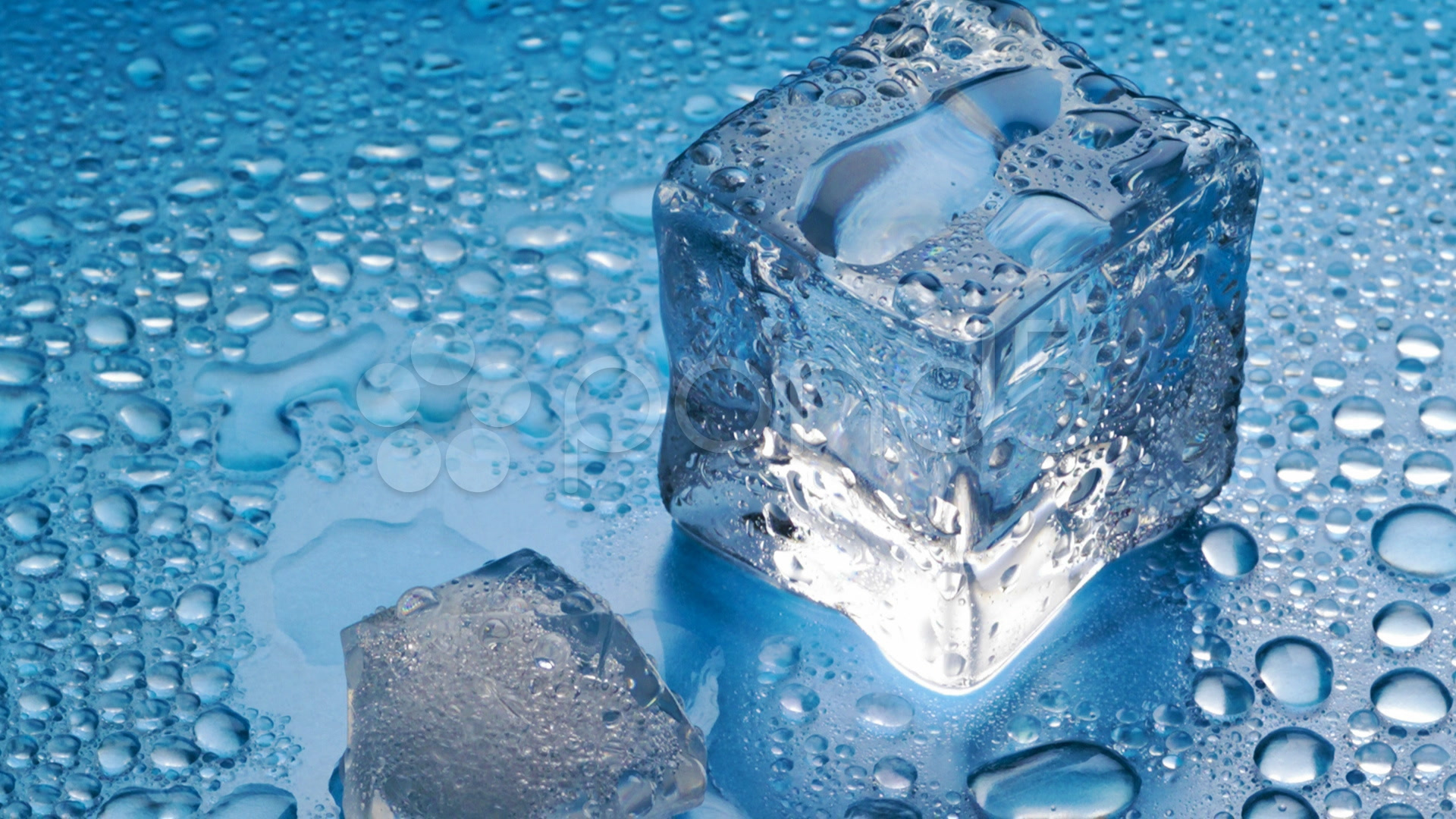1920x1080 Melting Ice Cube On Blue Background Stock Video