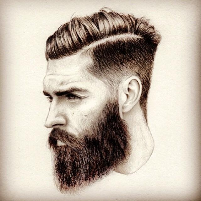 640x640 Bearded Man Sketch Art Artwork Drawing Arts Undercut Hair