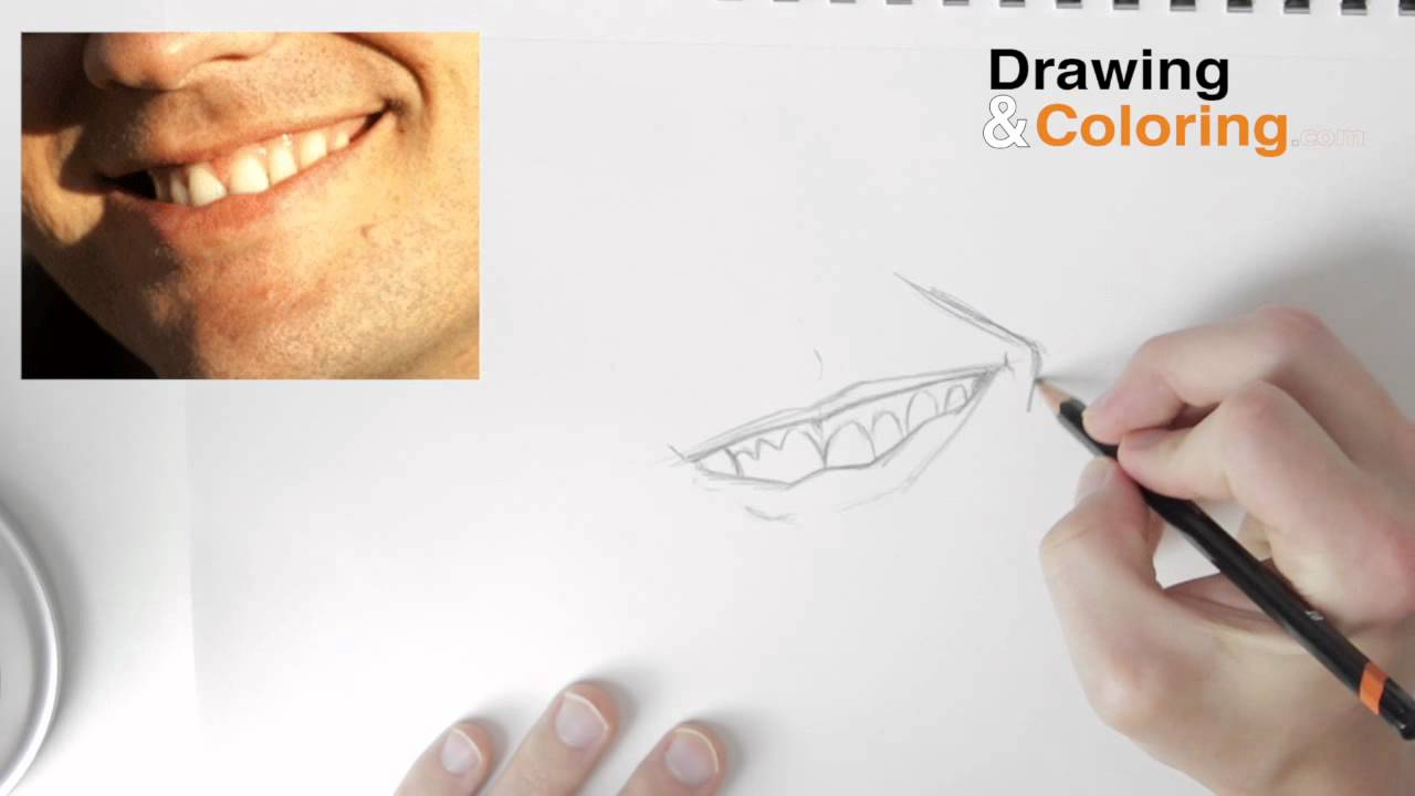 1280x720 How To Draw A Smiling Mouth Amp Teeth Step By Step
