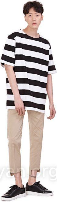 187x660 Drawing Striped Turtleneck Tee Striped