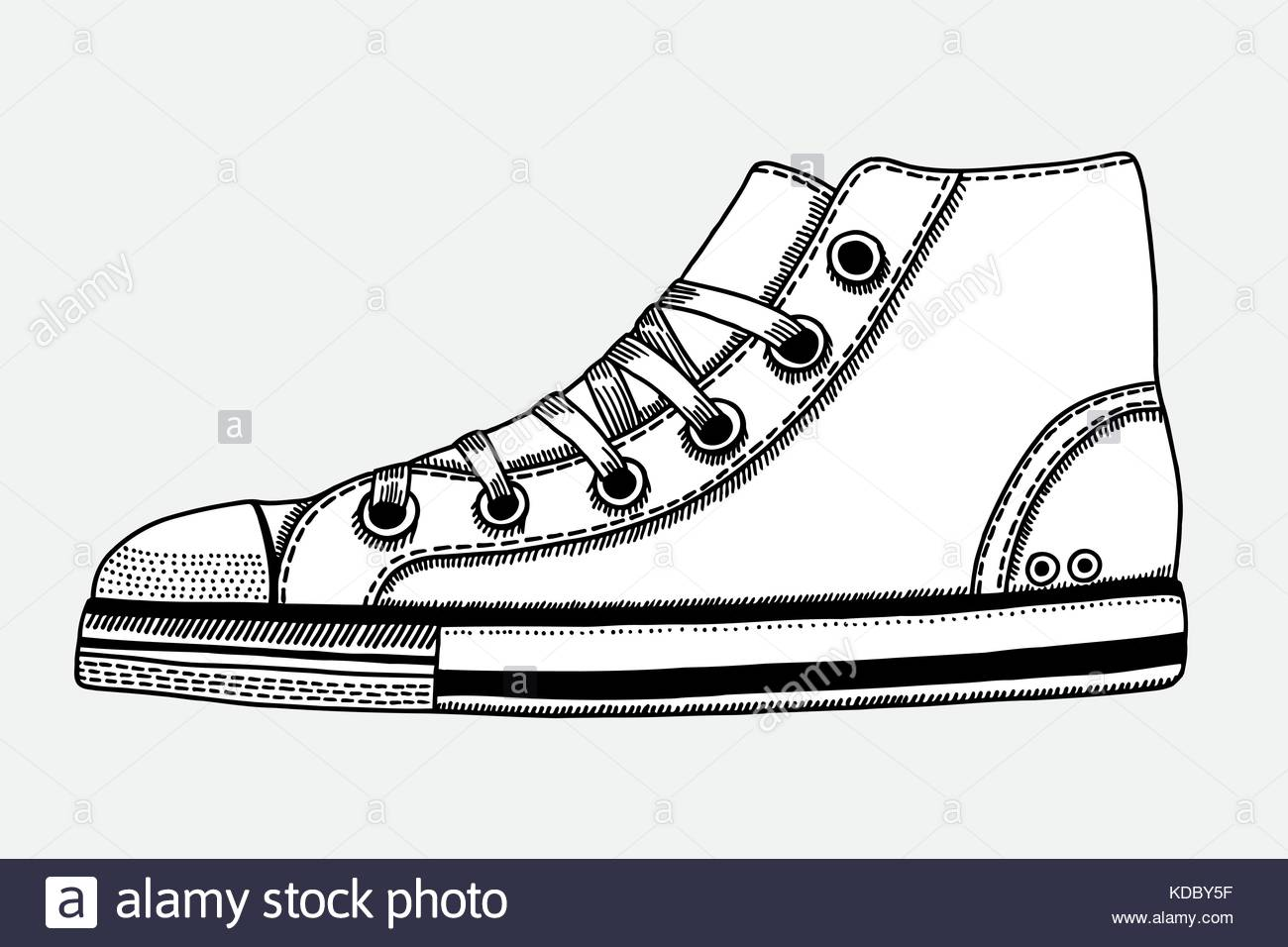 1300x956 Hand Drawn Sketch Of Sport Shoes, Sneakers For Summer. Vector