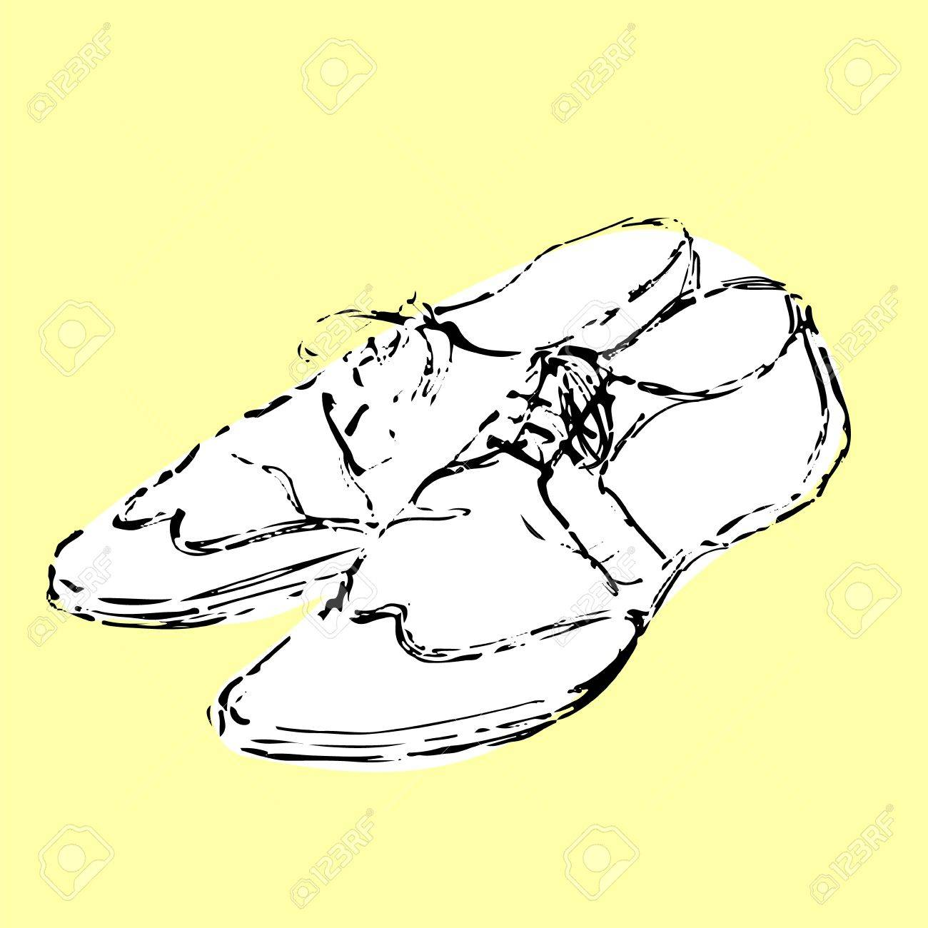 1300x1300 Mens Fancy White Shoes Hand Drawn Sketch On Yellow Background