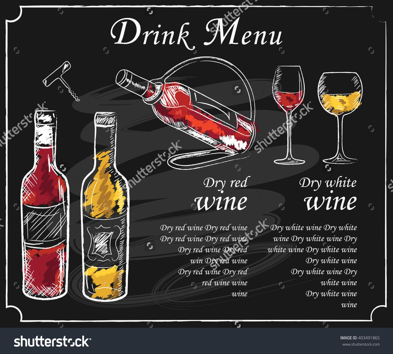 1500x1350 Drink Menu Elements On Chalkboard. Restaurant Blackboard