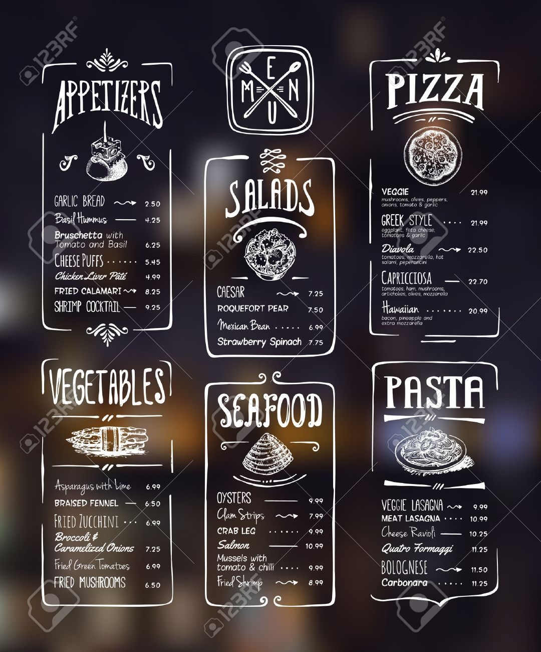 1080x1300 Menu Template. White Drawing On Dark Background. Appetizers