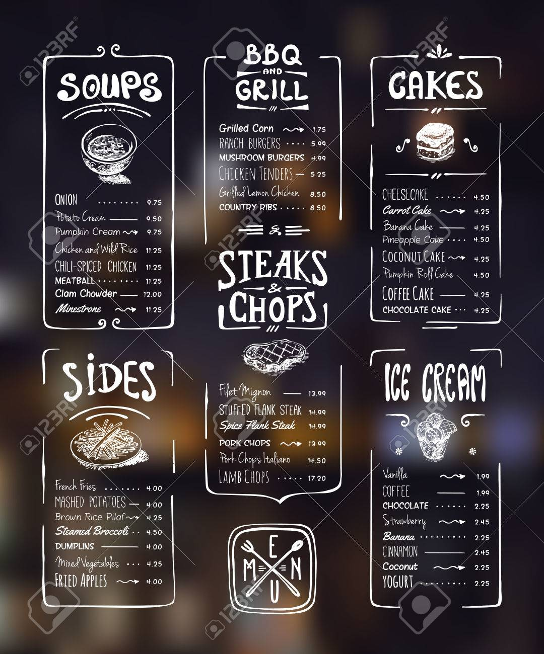 1080x1300 Menu Template. White Drawing On Dark Background. Soups, Sides