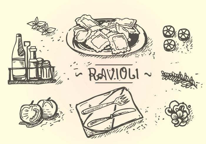 700x490 Ravioli Menu Hand Drawing