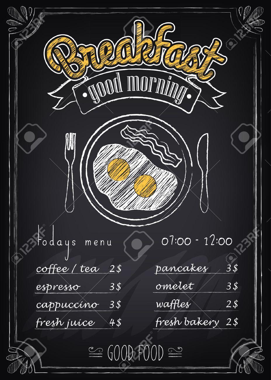 928x1300 Vintage Poster. Breakfast Menu. Fried Eggs, Beacon. Freehand